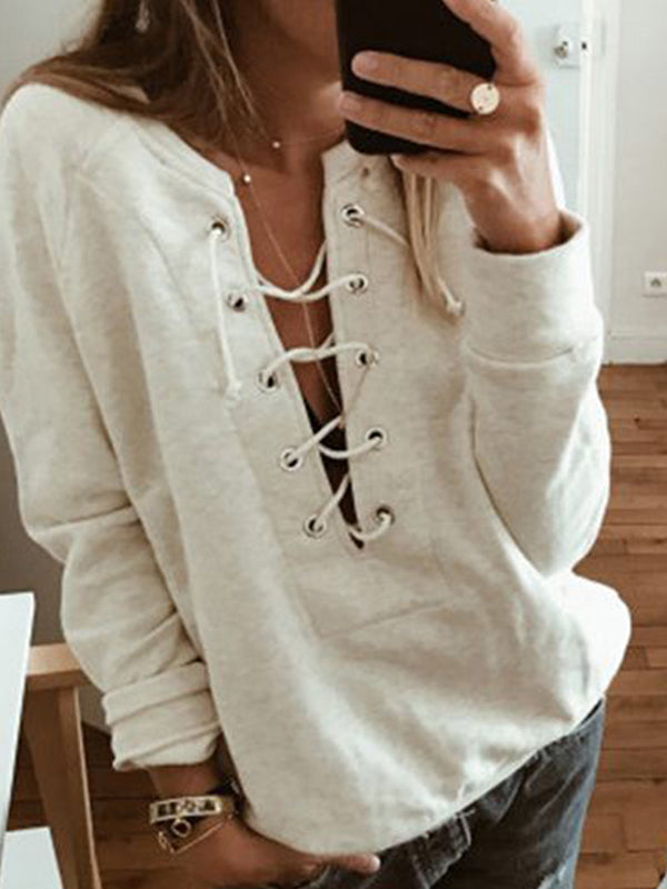 Solid Casual V Neckline Long Sleeve Blouses