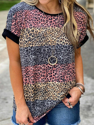 Casual Round Neck Leopard Print Color Block Short Sleeve T-Shirt - Luckinchic