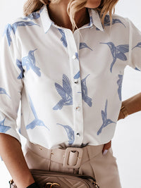 Casual Collared Swallow Printed Long Sleeve Blouse - Luckinchic