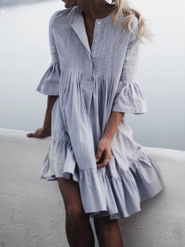 Solid Ruffles 3/4 Sleeves Knee-Length A-Line Dress - LuckinChic.com