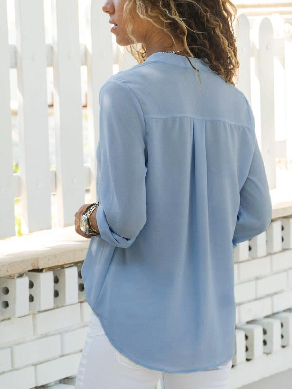 Fashion Solid Casual Fold Over Collar Shirt - LuckinChic.com