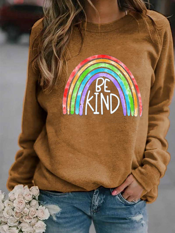 Rainbow BE KIND Print Round Neck Long Sleeve Sweatshirt Pullover Top - Luckinchic