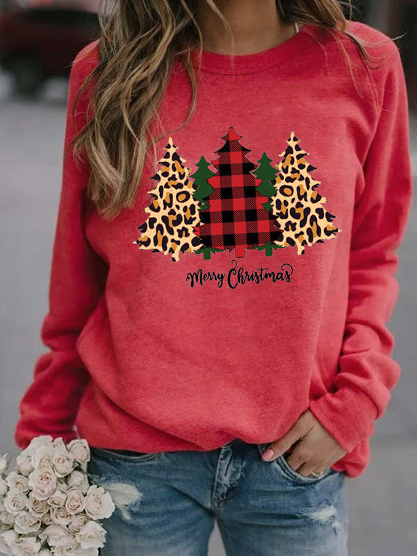 Casual Round Neck Christmas Tree Print Long Sleeve Sweatshirt Pullover Top - Luckinchic
