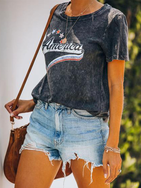 Casual Round Neck America Letters Print Short Sleeve T-Shirt - Luckinchic