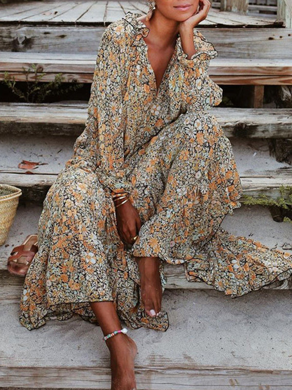 Casual V Neck Print Long Sleeve Loose Dress - Luckinchic