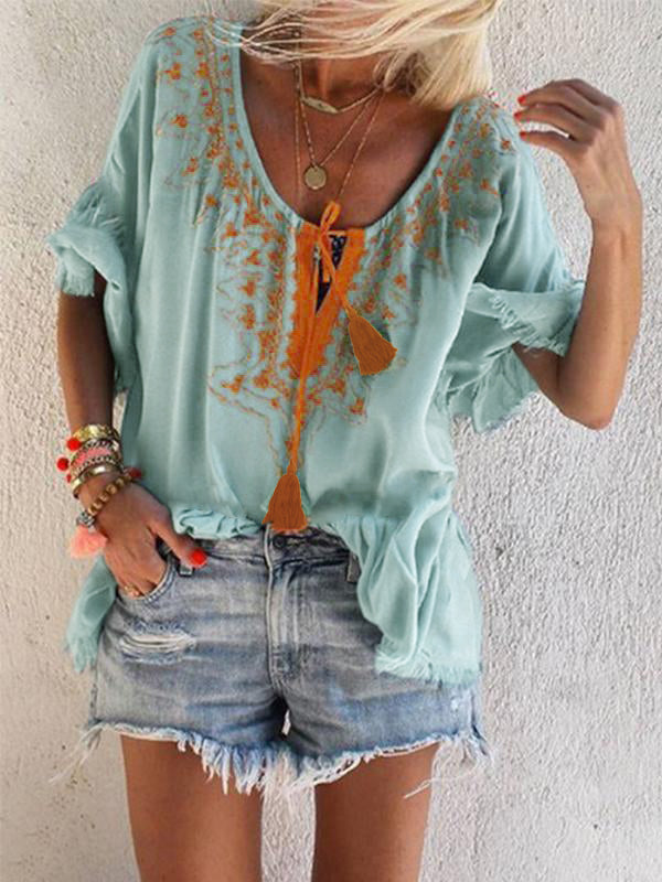V Neck Boho Embroidered Half Sleeve Blouse - LuckinChic.com
