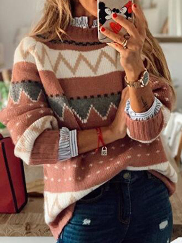 Casual Long Sleeve Pullover Round Neck Color Block Sweater Top - Luckinchic