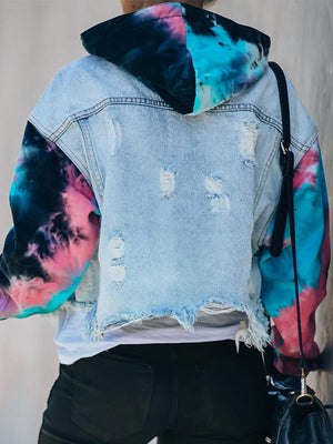 Casual Tie Dye Patchwork Long Sleeve Ripped Holes Hooded Denim Jacket - Luckinchic