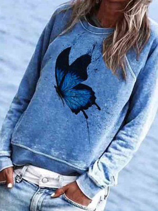 Casual Round Neck Butterfly Print Long Sleeve Sweatshirt Top - Luckinchic