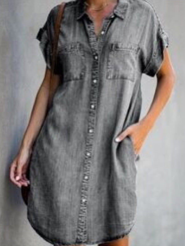 Casual Collared Solid Denim Short Sleeve A Line Dress - Luckinchic