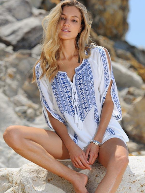 Boho Embroidered V Neck Beachwear Mini Dress