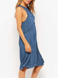 Faded wash Round Neck Sleeveless Casual Dresses