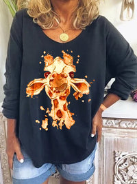 Casual Cute Animal Printed Long Sleeve T-Shirt Tops - Luckinchic