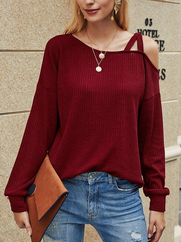 Casual Long Sleeve Solid Color Cold Shoulder T-Shirt Top - Luckinchic