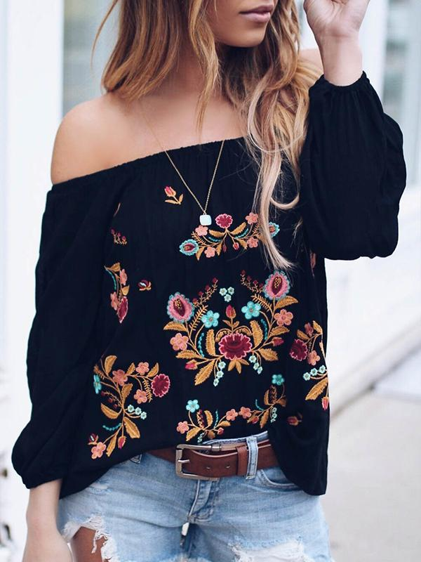 Off Shoulder Embroidered 3/4 Sleeve Casual Blouse - Luckinchic - LuckinChic.com