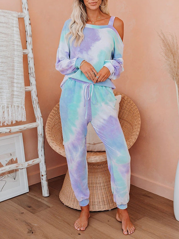 Casual Tie-Dye Printed Long Sleeve Top and Long Pants  2 Piece Pajamas Set with Pockets - Luckinchic