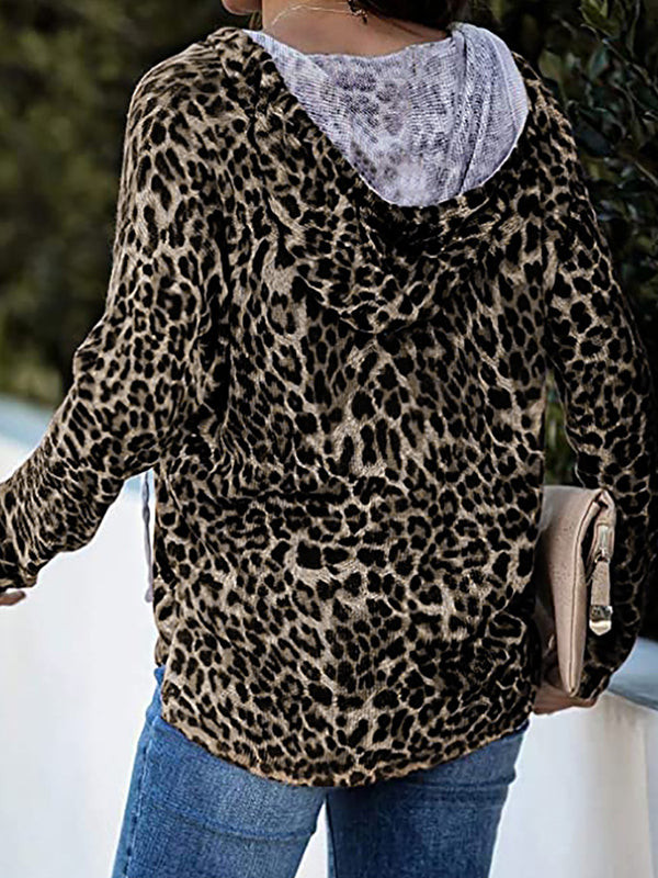 Casual V Neck Long Sleeve Leopard Print Hoodie - Luckinchic