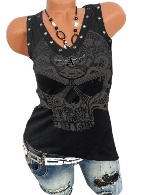 Skull V Neck Sleeveless Printed T Shirts