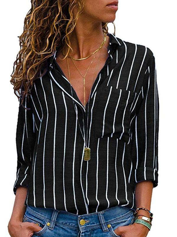Casual Shirt Collar Long Sleeve Striped Blouses