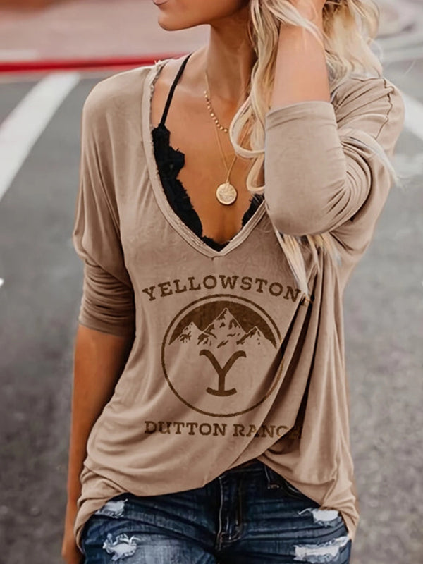 Casual V Neck Letter Graphic Print Long Sleeve T-Shirt Top - Luckinchic