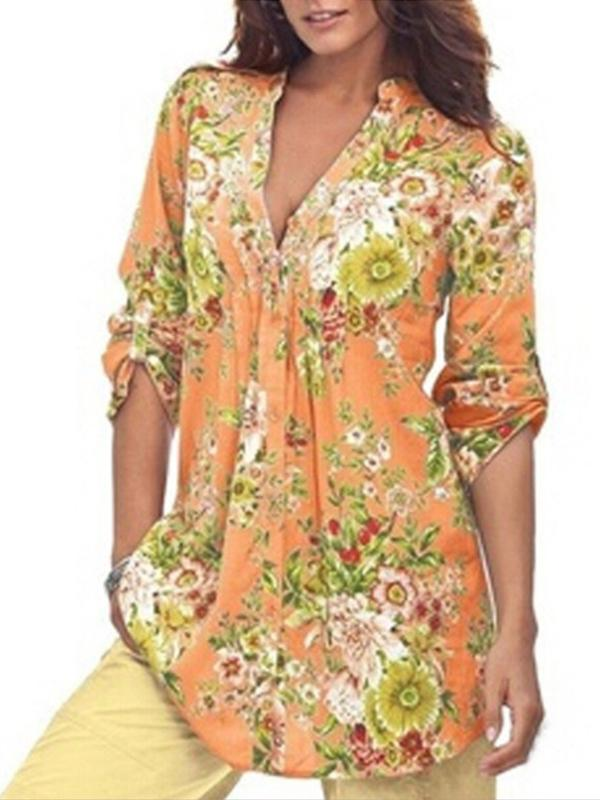 Clearance - Floral Casual V-Neckline 3/4 Sleeves Blouses - Luckinchic - LuckinChic.com