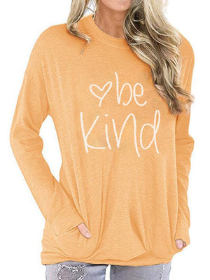 Casual Round Neck BE KIND Letter Print Long Sleeve T-Shirt Top - Luckinchic
