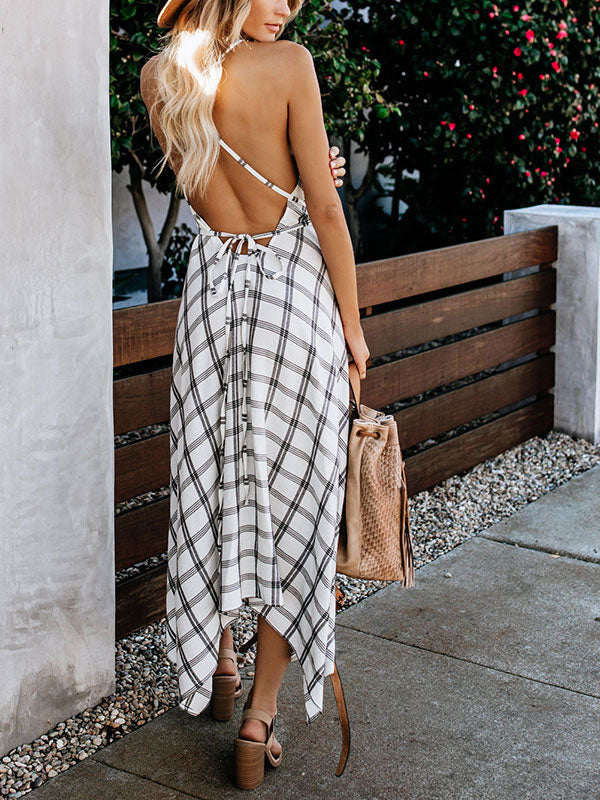 Plaid V Neck Backless Sexy Midi Dress