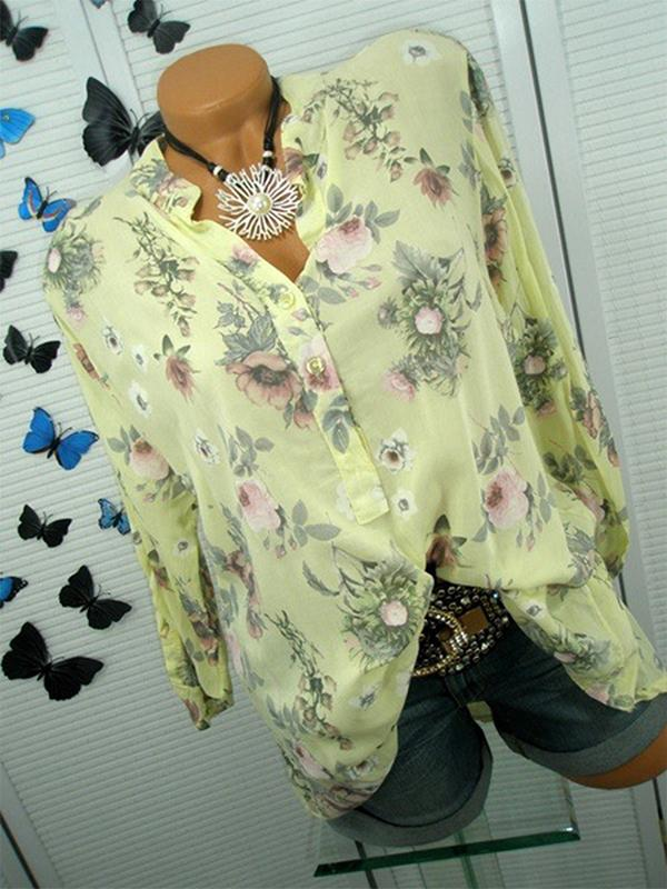 Clearance - Floral Casual V-Neckline Long Sleeve Blouses - Luckinchic - LuckinChic.com