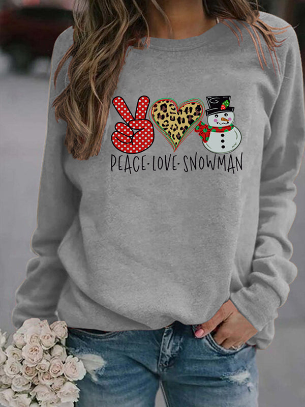 Casual Round Neck Christmas Snowman Letter Print Long Sleeve Sweatshirt Top - Luckinchic