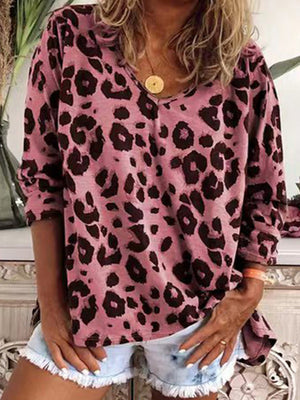 Casual V Neck Leopard Printed Long Sleeve T-Shirt Top - Luckinchic