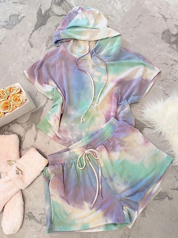 Casual Short Sleeve Tie Dye Shorts Hoodie Pajama Set with Drawstring Waist - Luckinchic