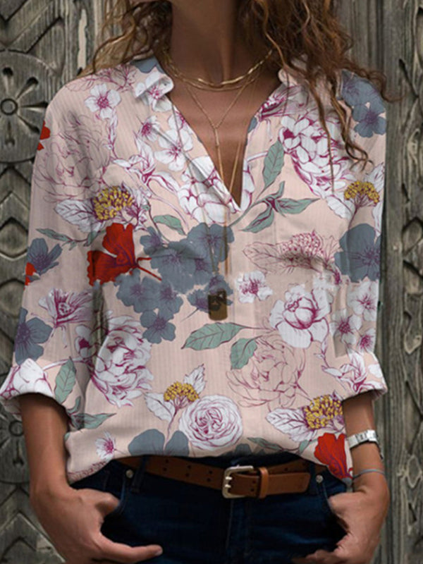 Casual Floral Print Long Sleeve Loose Shirt - Luckinchic