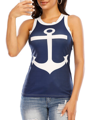 Boat Anchor Printed Round Neck Tank Top - Luckinchic