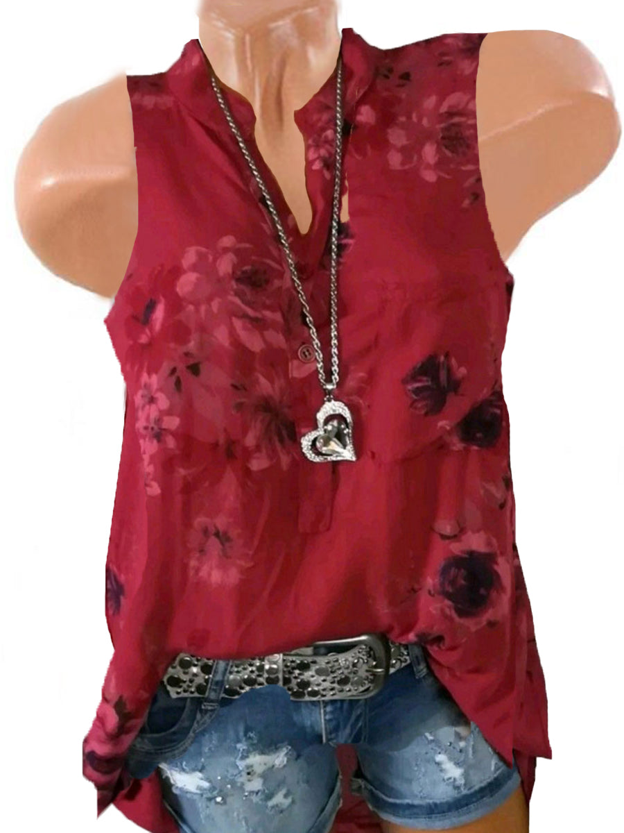 Floral Casual Stand Collar Sleeveless Blouses