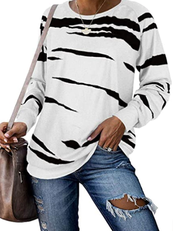 Casual Loose Tie Dye Print Pullover Long Sleeve Top - Luckinchic