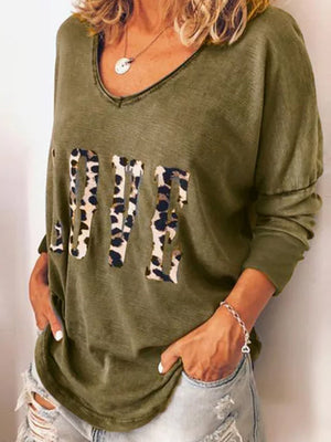 Casual V Neck Leopard Letter Print Long Sleeve Loose T-Shirt Top - Luckinchic