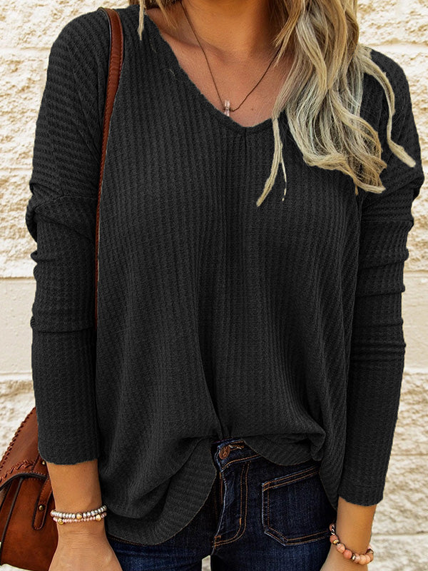 Casual V Neck Solid Color Knitted T-Shirt Long Sleeve Top - Luckinchic