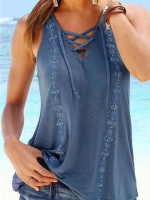 Lace-up V Neck Sleeveless Printed Tanks - Luckinchic - LuckinChic.com