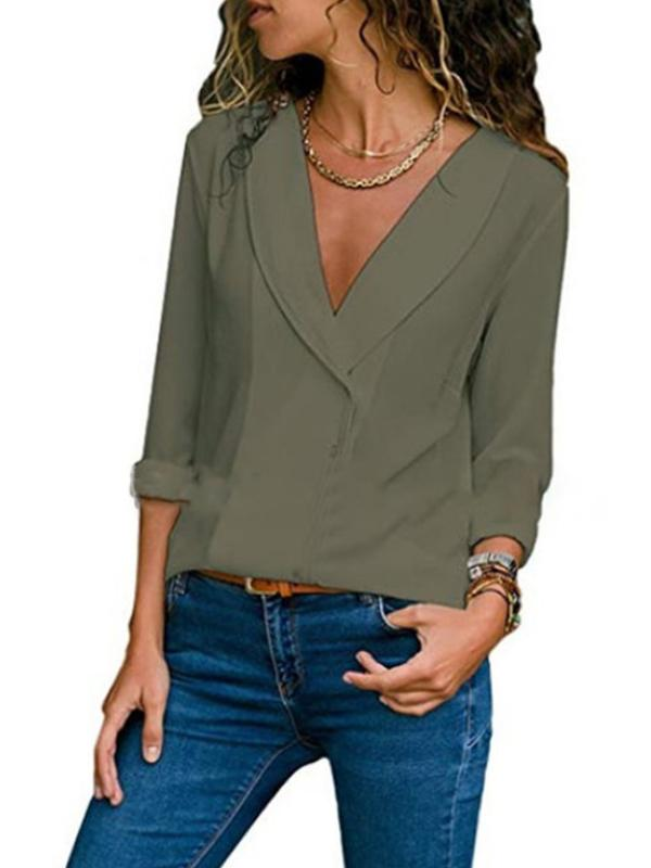 V Neck Solid Long Sleeve Elegant Buttoned Plus Size Blouse