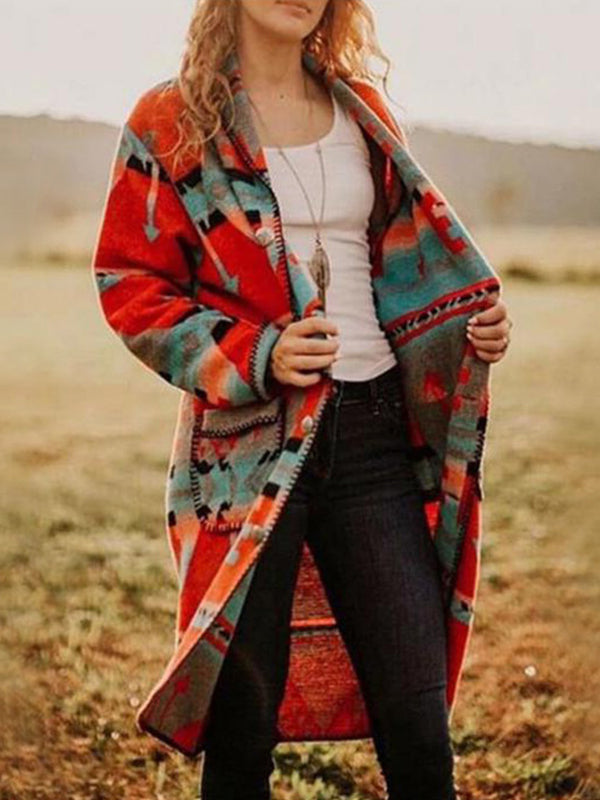 Casual Printed Long Sleeve Mid-Length Coat - Luckinchic