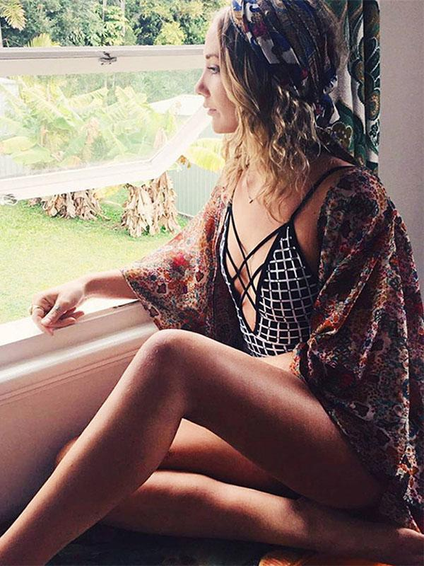 Plunging Collar Plaid One Piece Swimsuit