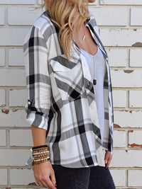 Casual Collared Plaid Button Down Shirts Long Sleeve Blouse - Luckinchic