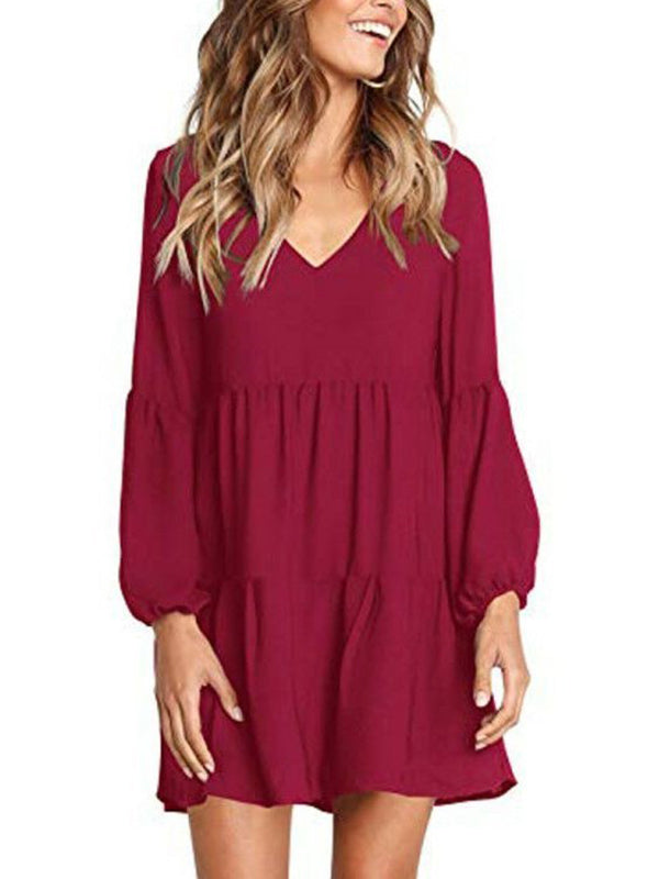 Sexy V Neck Solid Color Long Sleeve Dress - Luckinchic