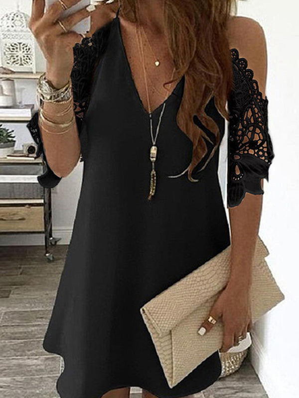 Casual V Neck Solid Color Lace Stitching Half Sleeve Dress - Luckinchic