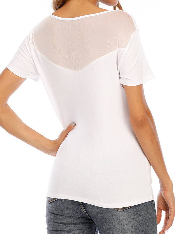 Sexy Round Neck Short Sleeve T Shirts - Luckinchic