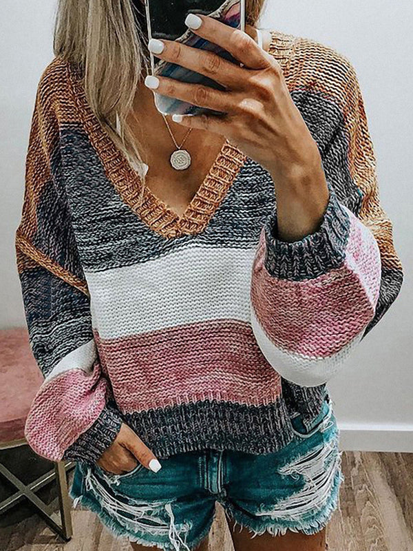Casual V Neck Color Block Striped Knitted Sweater - Luckinchic