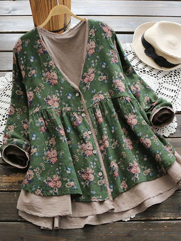Floral Tank V Neckline Long Sleeve A line Midi Dress