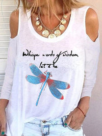 Casual Round Neck Dragonfly Letters Print Long Sleeve T-Shirt - Luckinchic