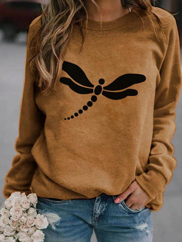 Casual Round Neck Dragonfly Print Printed Long Sleeve Loose T-Shirt Pullover Top - Luckinchic