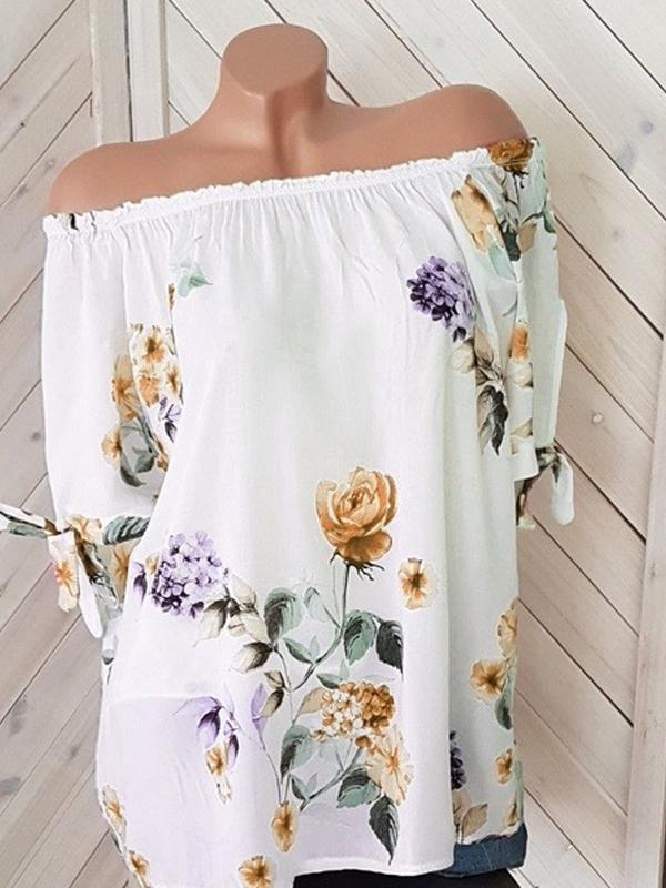 Sexy Off Shoulder Short Sleeve Floral Blouse